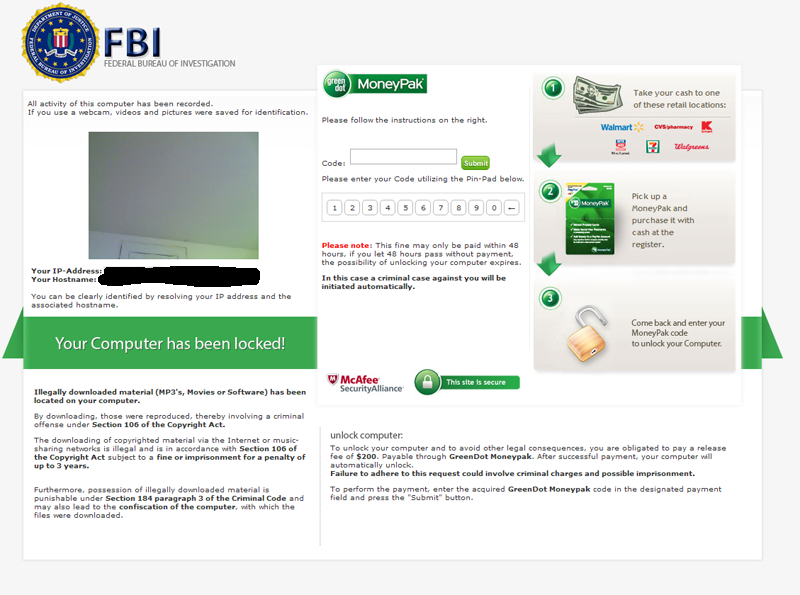FBI Moneypak 바이러스